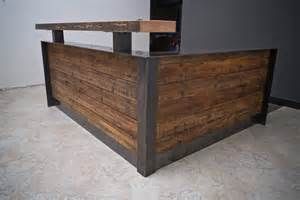 Reclaimed Wood Reception Desk Ada Reclaimed Reception Desk With Metal Wrap