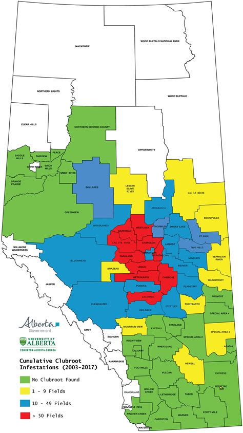 Alberta Phone Lookup Cumulative Clubroot Infestations 2003 To 2017 In Alberta