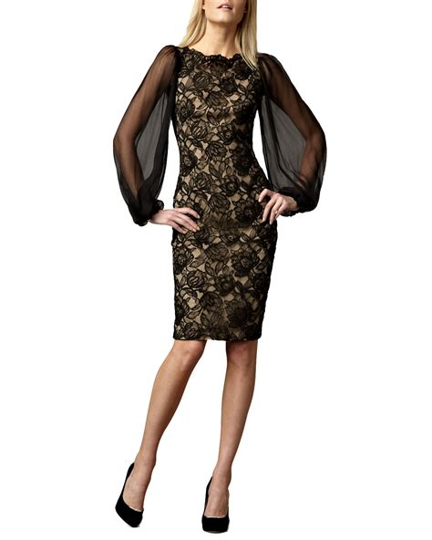Sleeve Lace Sheer Dress lyst tadashi shoji sheer sleeve lace cocktail dress in black