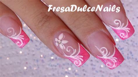 imagenes uñas blancas decoradas u 241 as decoradas flor sencilla easy flower nail art youtube
