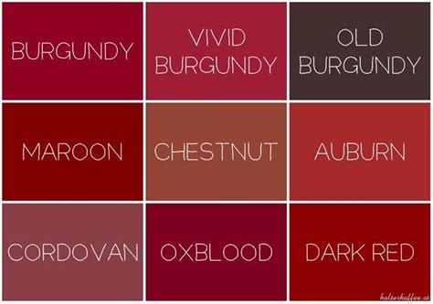 show me the color maroon burgundy color chart make up nail