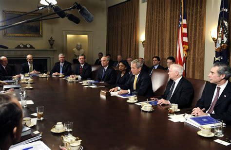 Us President Cabinet by Condoleezza Rice Photos Photos Us President Bush Meets