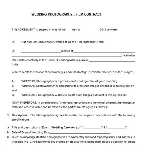 Agreement Letter For Photography 20 Photography Contract Template