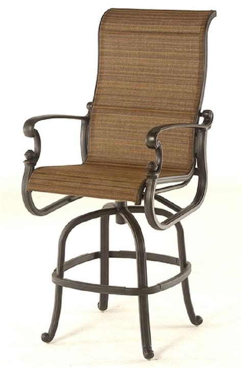 Bar Height Patio Set With Swivel Chairs St Augustine By Hanamint Luxury Cast Aluminum Patio Furniture Sling Swivel Bar Height Chair