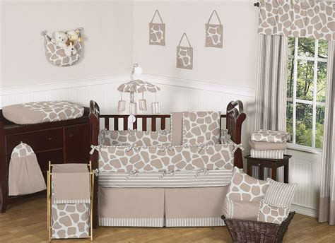 Giraffe Baby Bedding Crib Sets Giraffe Print Baby Crib Bedding Set 9pc Nursery Collection Taupe Brown White