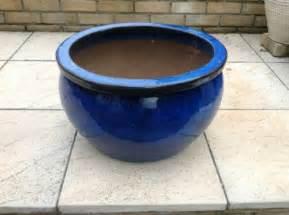 large blue glaze ceramic garden pot planter