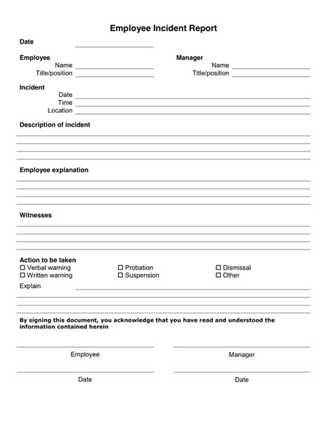 health and safety incident report template 10 incident