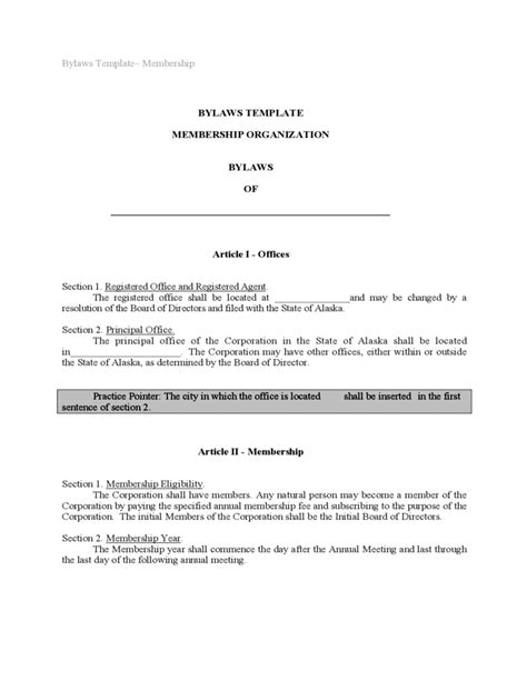 Bylaws Template Sle Free Download C Corp Bylaws Template