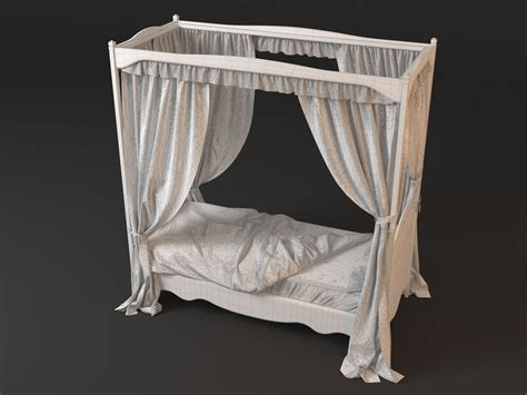 four poster bed with curtains 4 poster bed with curtains 3d model max obj fbx