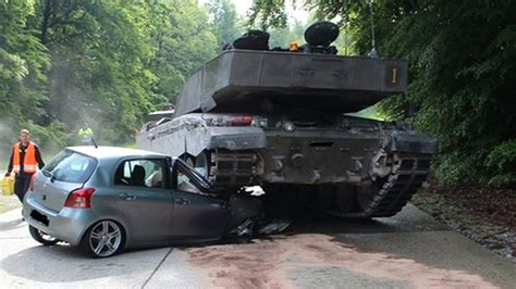 Auto Tanken by Tank Crushes Learner Driver S Car In Germany Itv