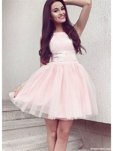 simple    neck pink tulle short homecoming
