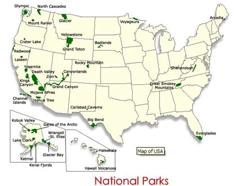u s national park map national parks