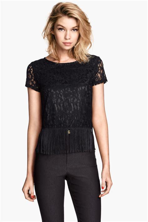 Hm Fringe Knit Top lace top with fringe black sale h m us