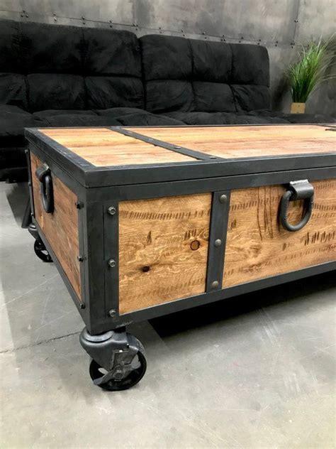 rusticwood coffee table  wheels  handleswood