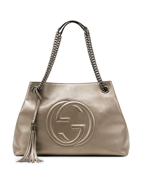 Gucci Soho Leather Backpack Ss17 18 lyst gucci soho metallic leather shoulder bag in