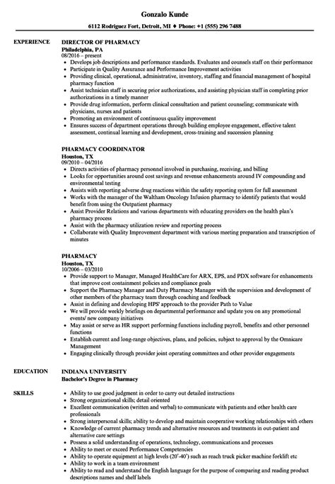 Pharmacy Resume by Pharmacy Resume Sles Velvet