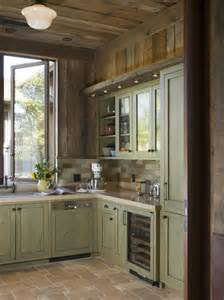 Painted Wooden Kitchen Cabinets A Rustic Wine Country Retreat Painted Wood Cabinets Contrast With Reclaimed Fir While Handmade