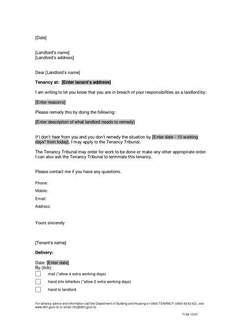 Contract End Notification Letter tenancy termination letter to landlord sle section 21