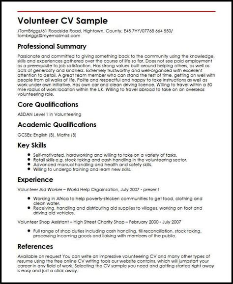 Volunteer Experience Resume by Volunteer Cv Sle Myperfectcv