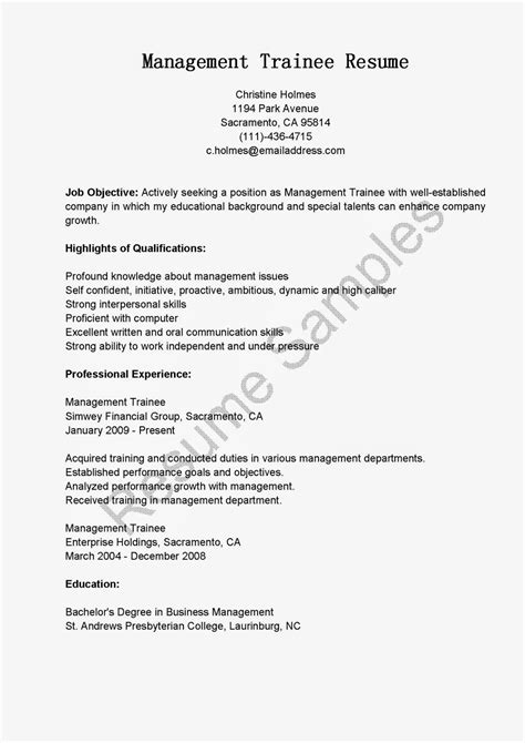 Trainee Resume Resume Sles Management Trainee Resume Sle