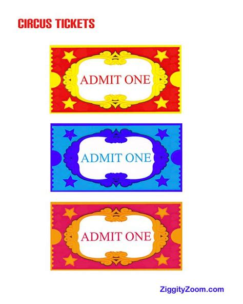 Printable Pretend Tickets | kids printable circus tickets for pretend circus play