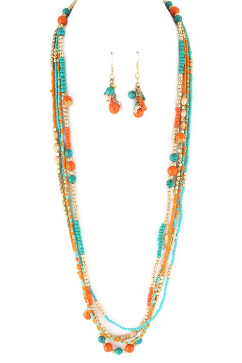 bead sets jewellery layered assorted bead necklace set necklaces