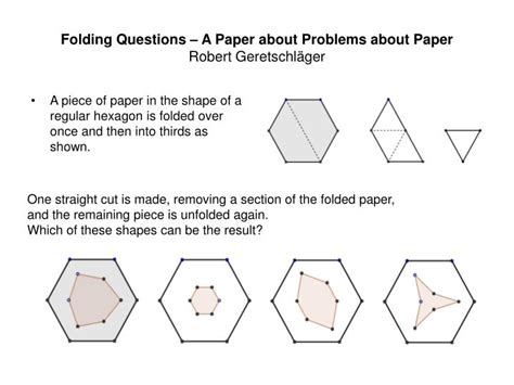 Paper Folding Problem - ppt folding questions a paper about problems about