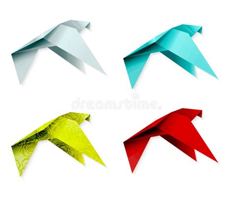 Origami Of A Bird - set of colorful origami bird eps 10 stock photography