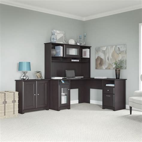 cabot l shaped desk with hutch cabot l shaped desk with hutch and low storage cabinet in
