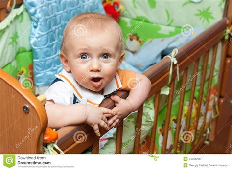 Baby Standing In Crib Royalty Free Stock Photos Image Baby Standing In Crib