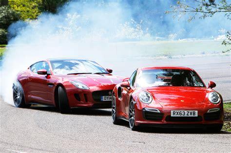 porsche 911 turbo s vs jaguar f type r coupe hillclimb