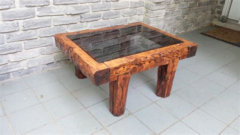 rustic wood and glass coffee table secondhand pursuit
