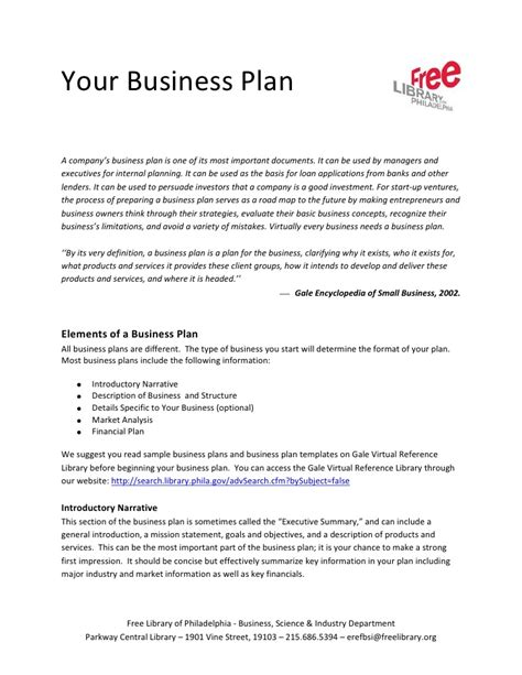 intro to business plans