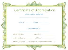 Templates For Certificates Of Appreciation Blank Certificate Template Free Search Results