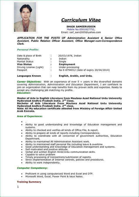 curriculum vitae format sles cv application exle