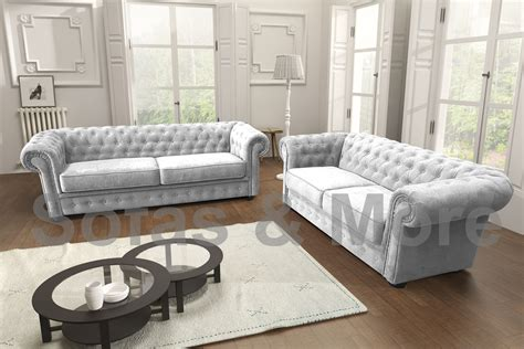 Corner Sofa 3 2 by Chesterfield Corner Sofa Velour Fabric Light Grey 3 2