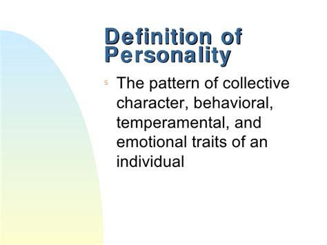 pattern behavior meaning personality theory