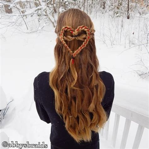 braided hairstyles heart ribbon heart braid