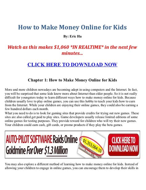 Make Money Online Kids - how to make money online for kids