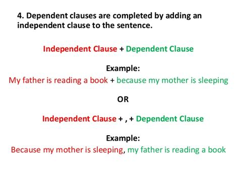 exle of dependent clause parts of a sentence independent dependent clauses