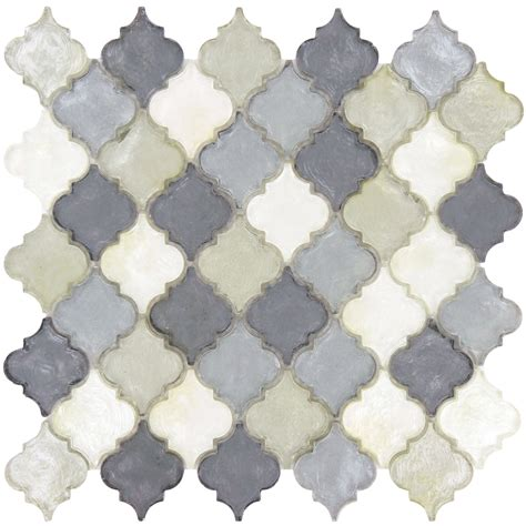 Kitchen Tile Designs For Backsplash Arabesque Grey Glass Arabesque Tile Glossy Dtl3006
