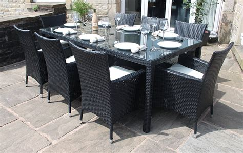 Rattan Outdoor Seater Garden Furniture Dining Set In Black Rattan Patio Dining Set