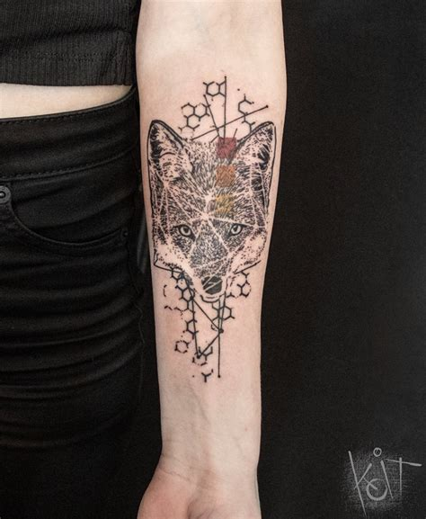 geometric forearm tattoo geometric fox on left half sleeve by koit