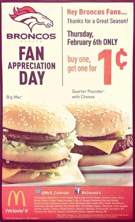 Big Mac Turns 40 by Broncos Fan Appreciation Day Mcdonalds Bogo Musely