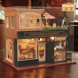 paris house music new kits diy wooden dollhouse miniature doll house cover music paris coffee shop
