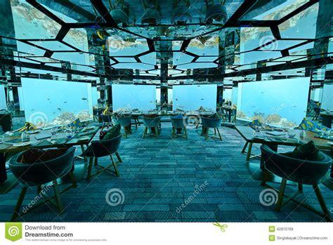 ithaa undersea restaurant il ristorante best free underwater restaurant stock image image of luxe kihavah