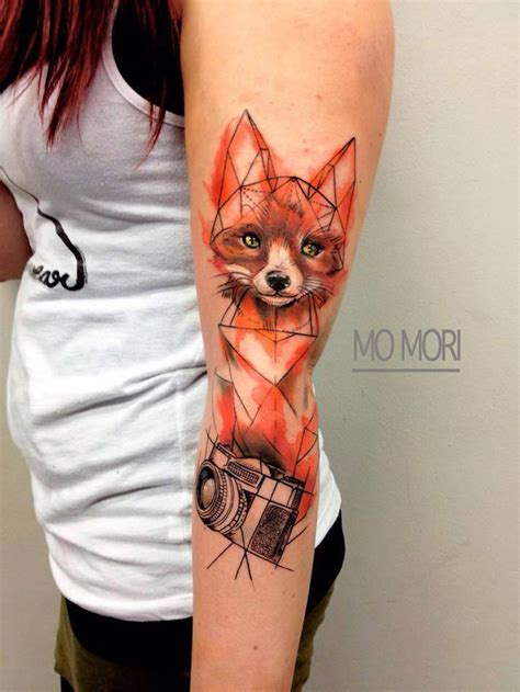 super cute fox watercolor with geometric outlines best