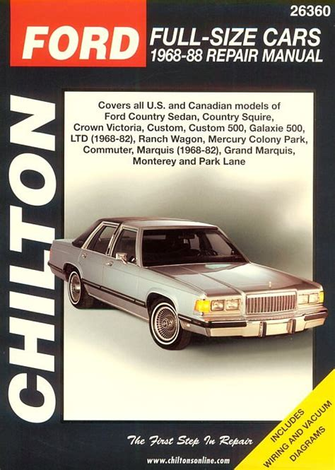 small engine service manuals 1986 ford ltd on board diagnostic system 1968 1988 ford mercury full size cars chilton s total car care manual
