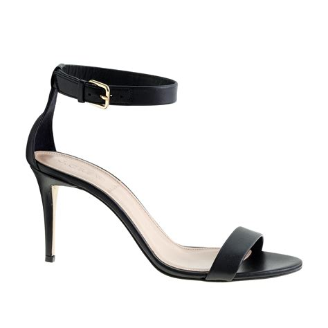 high heel sandals with ankle j crew high heel ankle sandals in black lyst