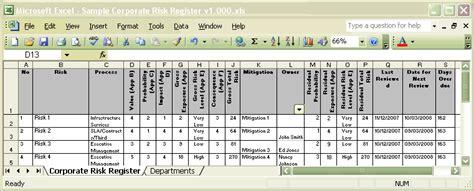 Register Form Sle Hunecompany Com Security Risk Register Template Xls